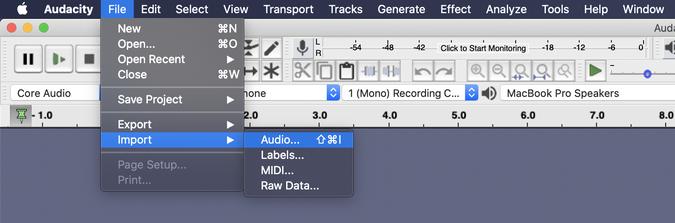 Import audio files in Audacity