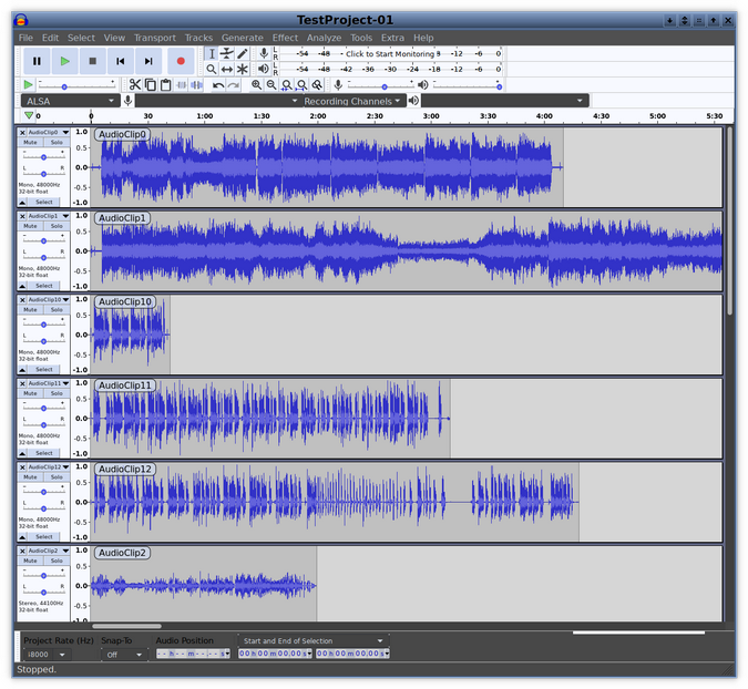 Tracks loaded in Audacity