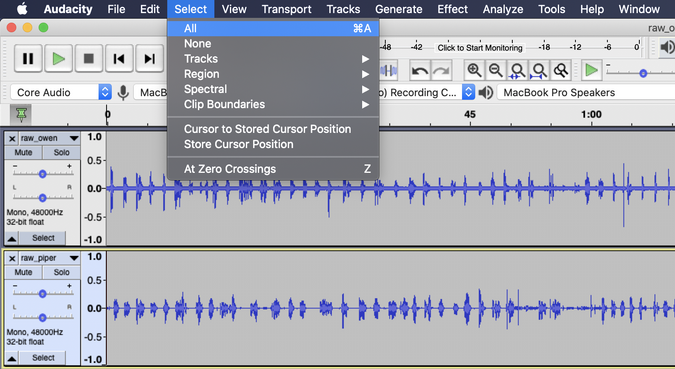 Selecting all the audio tracks