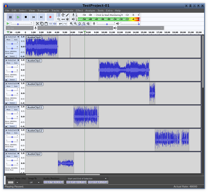 Audio clips in Audacity