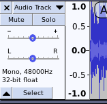 Moving tracks in Audacity
