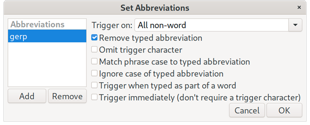 Set abbreviation in AutoKey