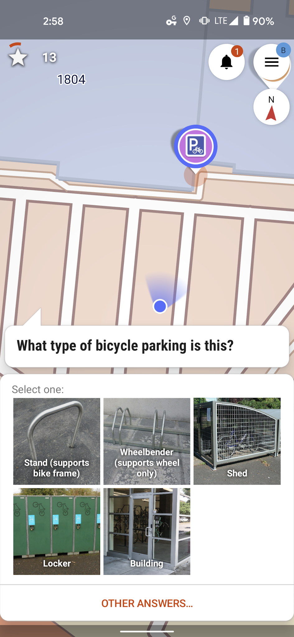 Bicycle parking type