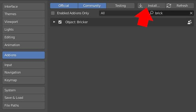 Installing an add-on in Blender