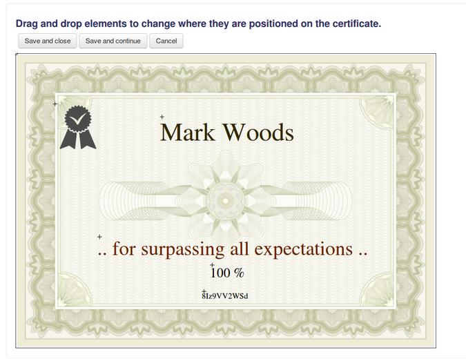 Custom certificate Moodle plugin