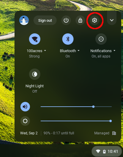 Chromebook Settings button