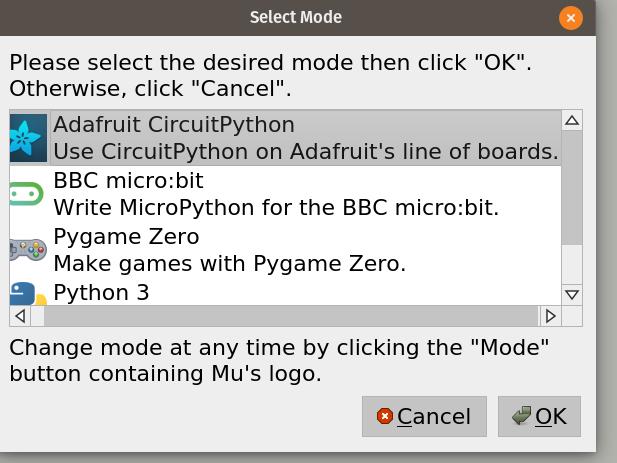 Selecting CircuitPython mode to run Mu