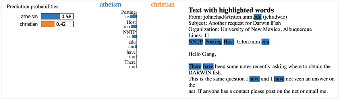 "Results of LIME text classification on ""atheism"" and ""Christianity"""