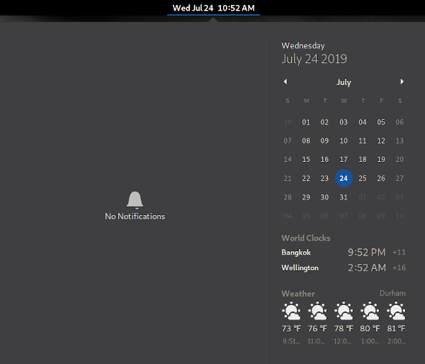 Clocks and Weather shown in the drop-down