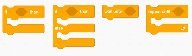 Conditional statement blocks in Scratch