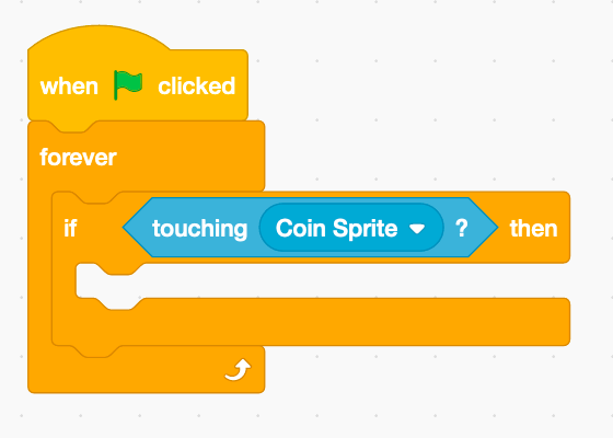Collision-detection script in Scratch