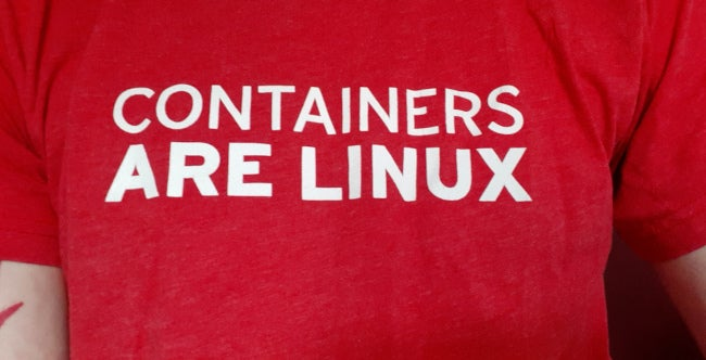 """T-shirt reading """"Containers are Linux"""""""