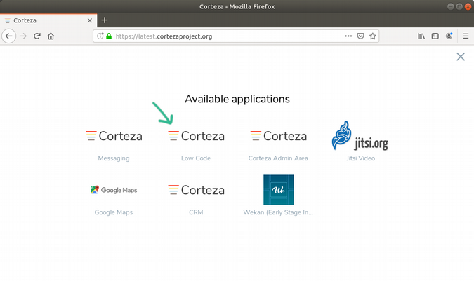 Other options for opening Corteza Low Code