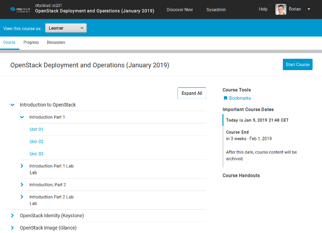 Course overview page from Open edX's LMS