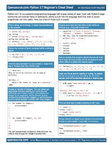Cover image for Python 3.7 for beginners cheat sheet