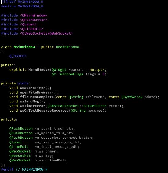 Header Qt C++ frontend
