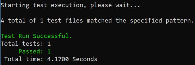 dotnet test output