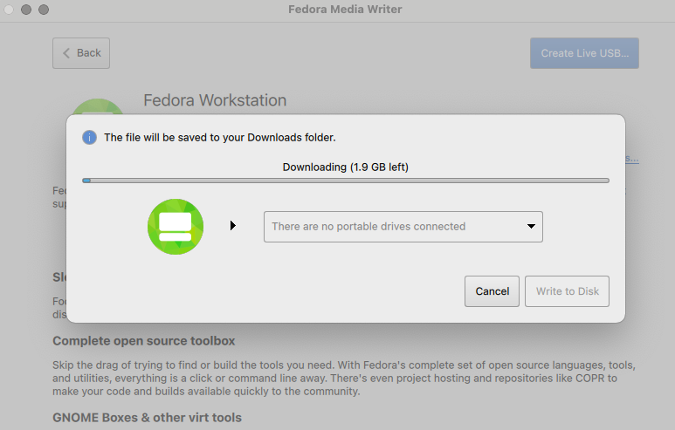Downloading Fedora Workstation