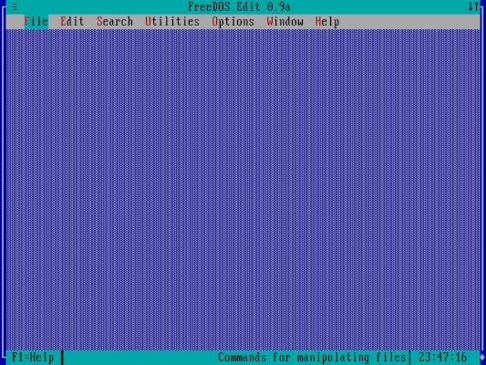 FreeDOS Edit menu
