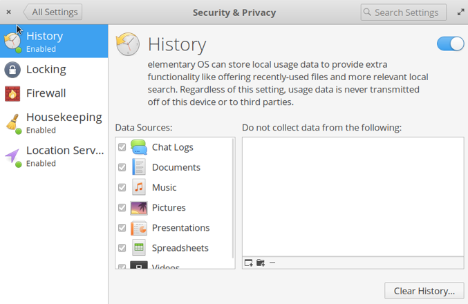 Elementary OS's Privacy and Security screen