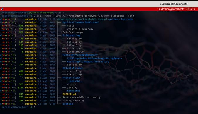 Metadata in exa's tree structure