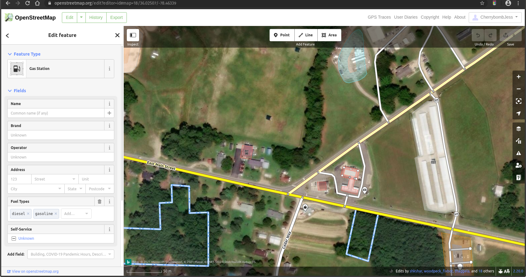 OSM gas station example