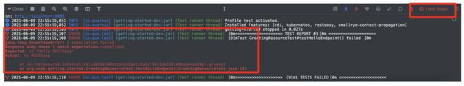 Test failures in Quarkus DEV UI