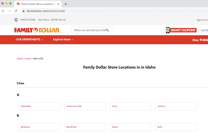 Family Dollar Idaho locations page