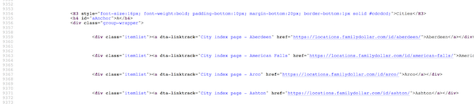 Family Dollar page source code