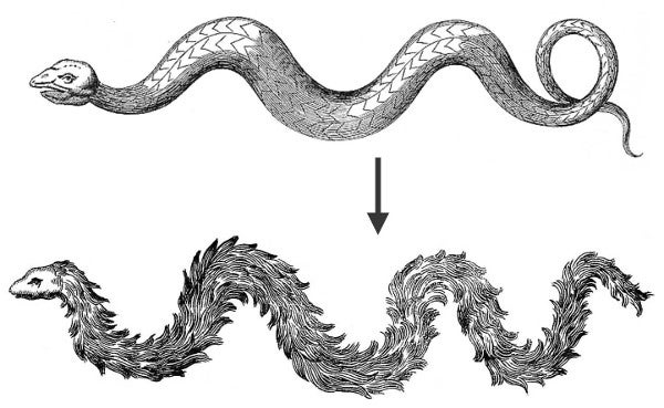 Serpents with and without feathers