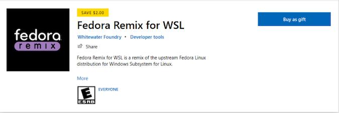 screenshot of Fedora Remix purchase in the Microsoft store