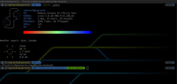 Fedora running zsh with the Powerlevel10k theme