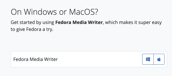 Fedora Media Writer download screen