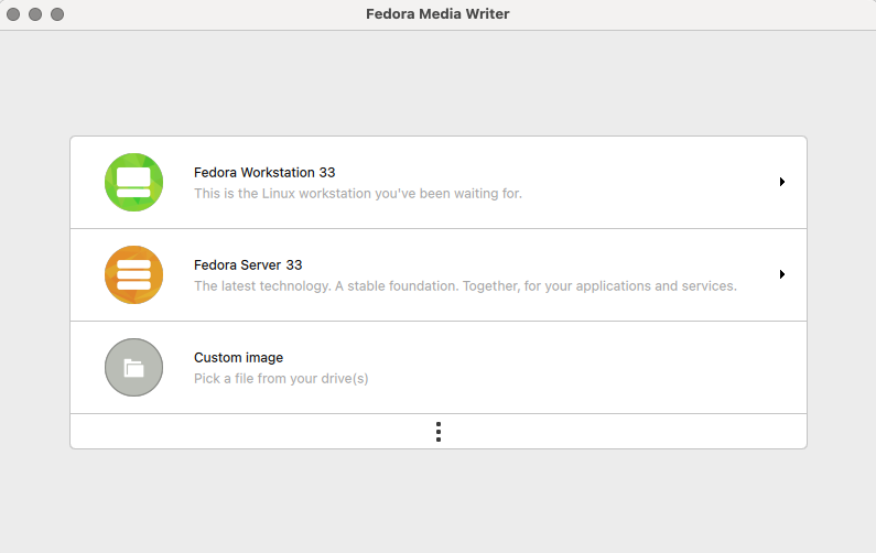 Fedora Workstation download in Fedora Media Writer