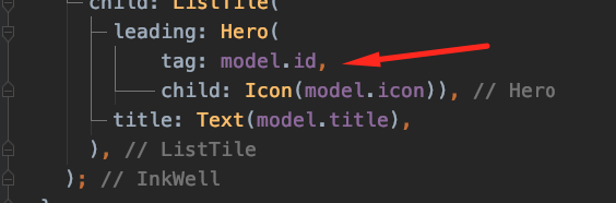 Adding the tag property model.id to the Hero widget