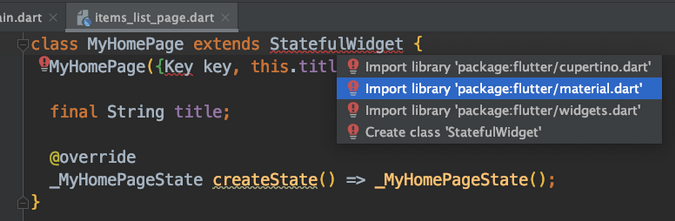 Importing Flutter package