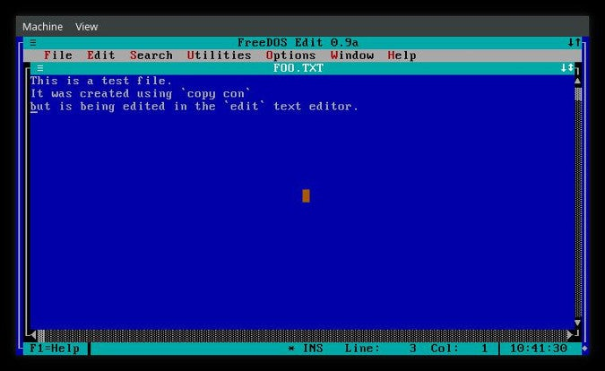 Editing in FreeDOS