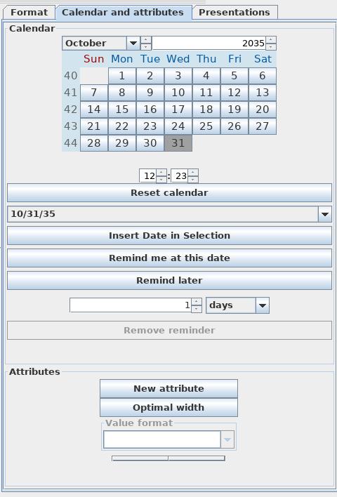Freeplane Calendar tab
