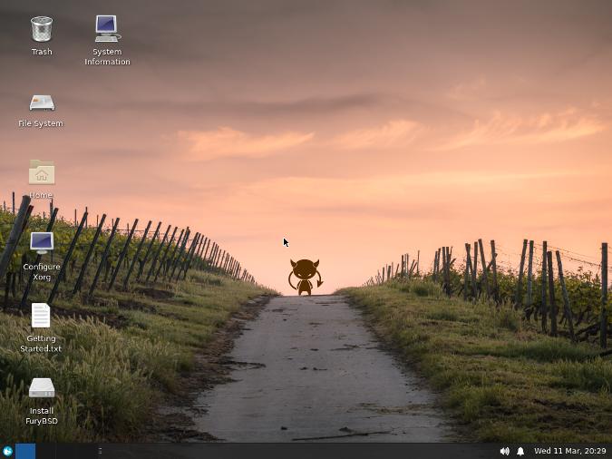 FuryBSD Live XFCE Desktop