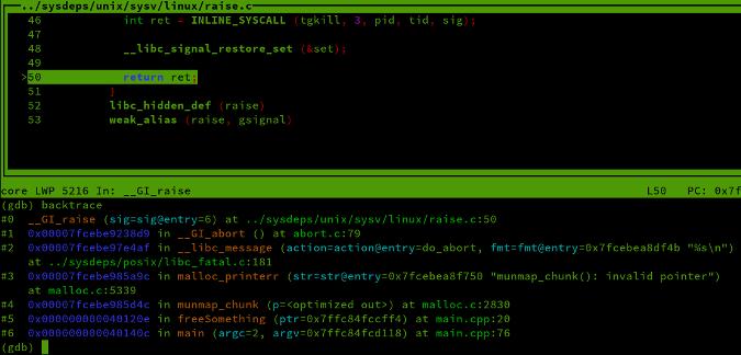 coredump output