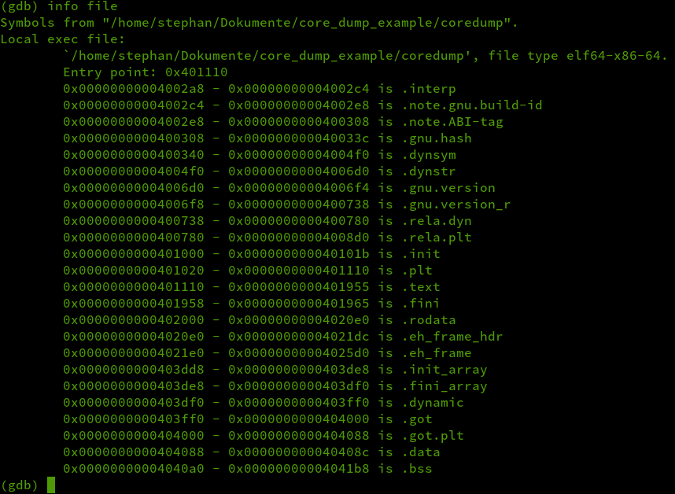 info file output