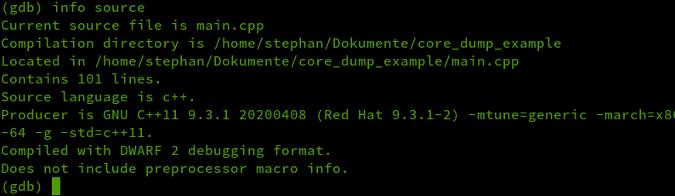 gdb info source output