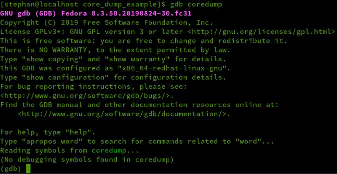 gdb coredump output