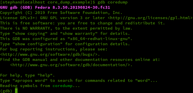 GDB output with symbols