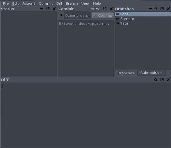 empty Git-cola window
