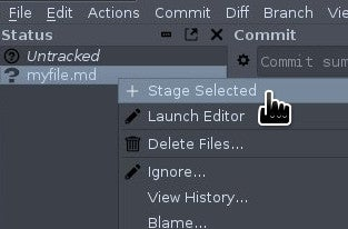 Staging a file in Git-cola