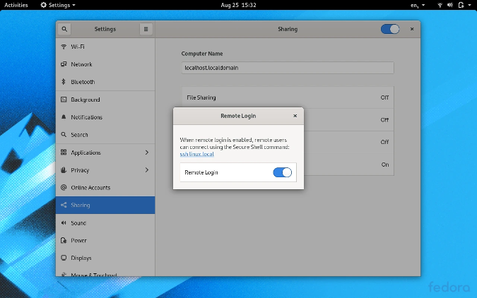 Activate SSH in GNOME System Settings