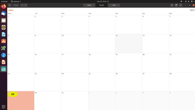 Modified GNOME calendar