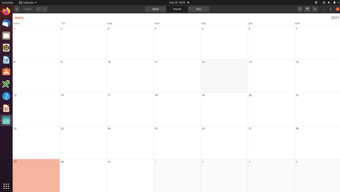 Standard GNOME calendar