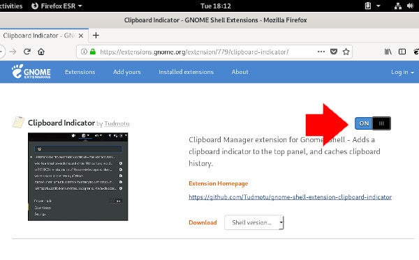 GNOME extension toggle